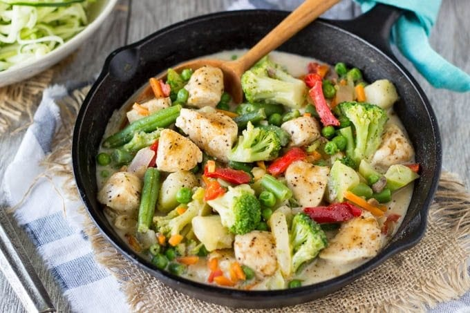 Skillet Peanut Chicken Stir-fry- Creamy peanut sauce + Stir-fry Veggies + Chicken = Quick and Easy meal