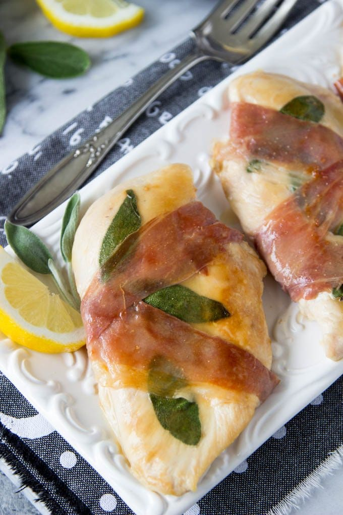 Super Easy! only 15 min from start to finish ( and it has a 5 star rating) lemon chicken saltimbocca - prosciutto and sage wrapped chicken breasts with a lemon glaze| simplehealthykitchen.com # easy chicken recipe