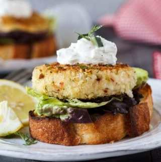 Open-Faced Crab Cake Sandwich