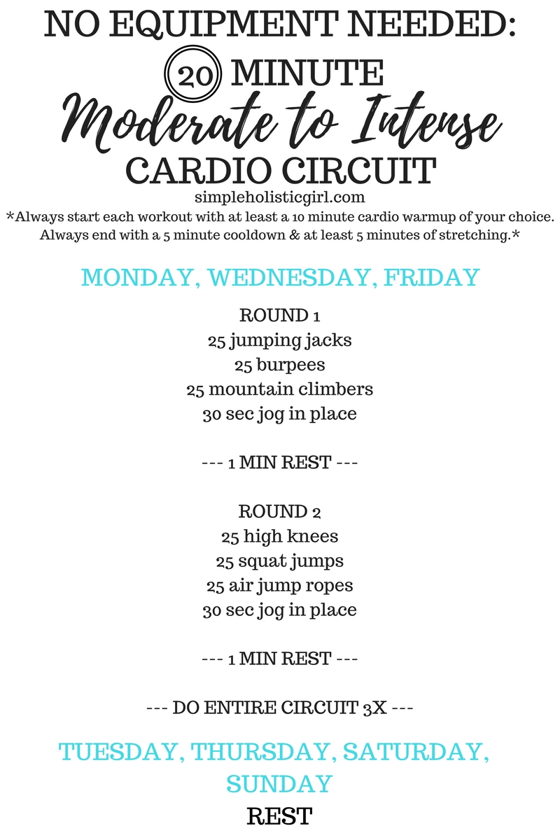 20 Minute Moderate to Intense Cardio Circuit (No Equipment Needed)