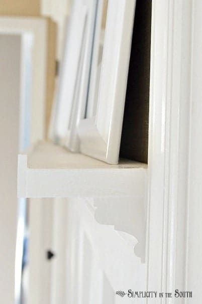 Side profile of DIY gallery shelf