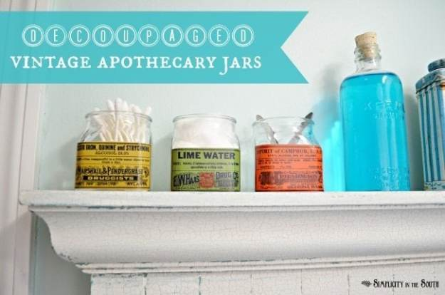decoupaged vintage apothecary jars