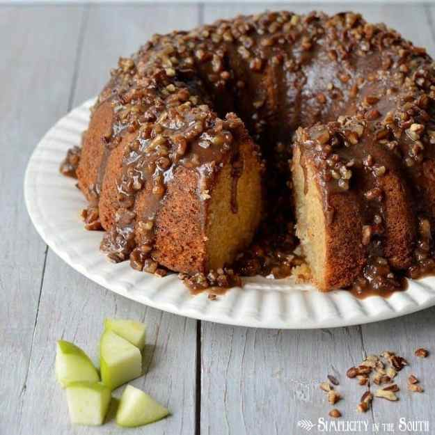 Amazing Apple Dapple Bundt Cake with a caramel-pecan glaze