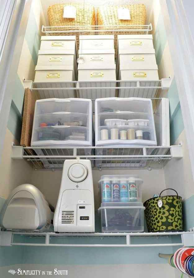 Small craft closet organization