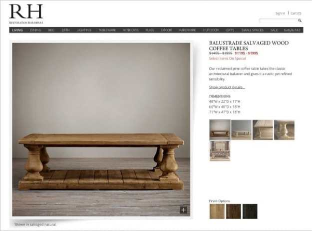 Inspiration picture- RH balustrade salvaged wood coffee table