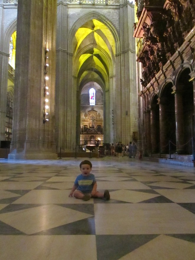 Inside the largest gothic Cathedral in the world, in Seville, Spain