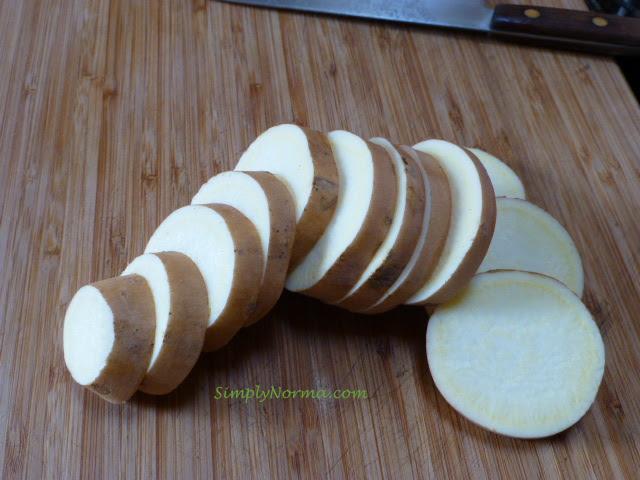 Slice sweet potatoes