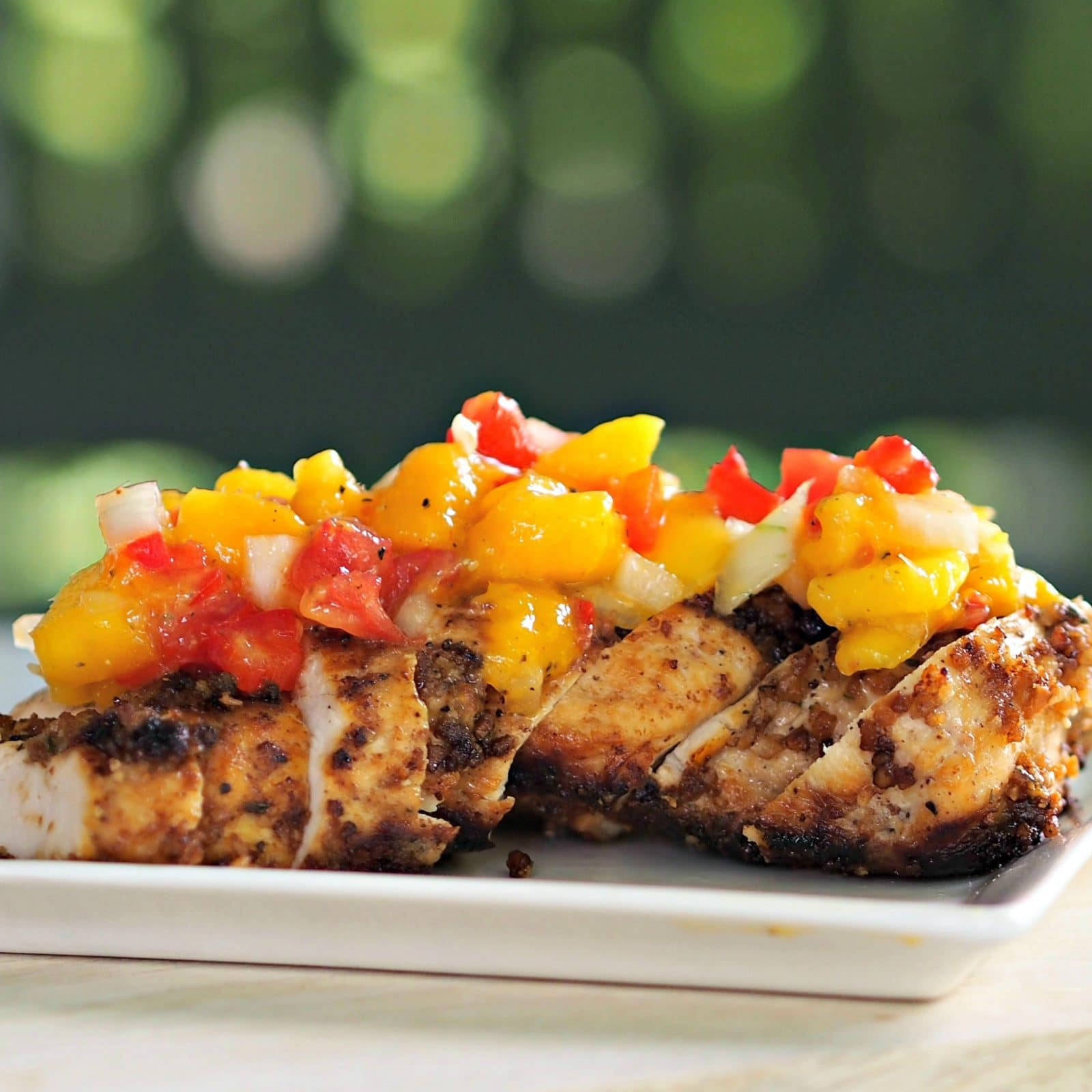Dipped Chicken with Mango Salsa makes you feel like dancing. Chicken ...