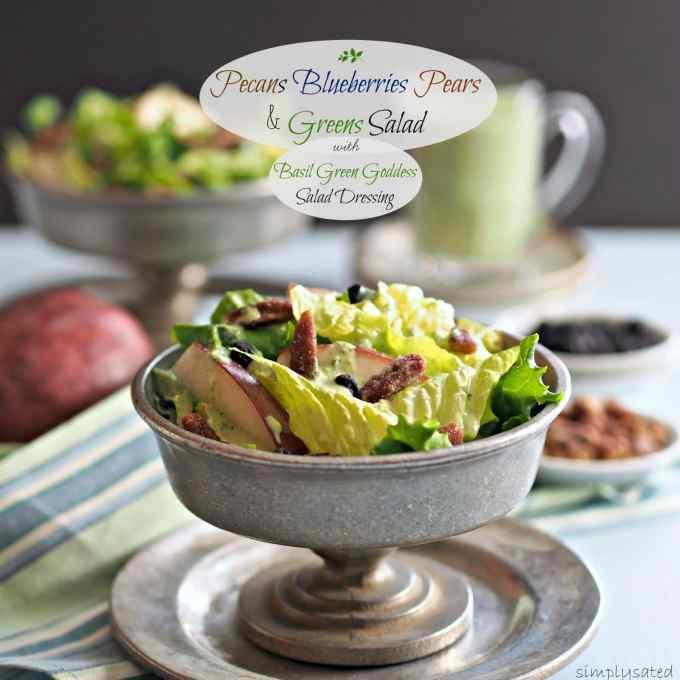 Pecans Blueberries Pears & Greens Salad