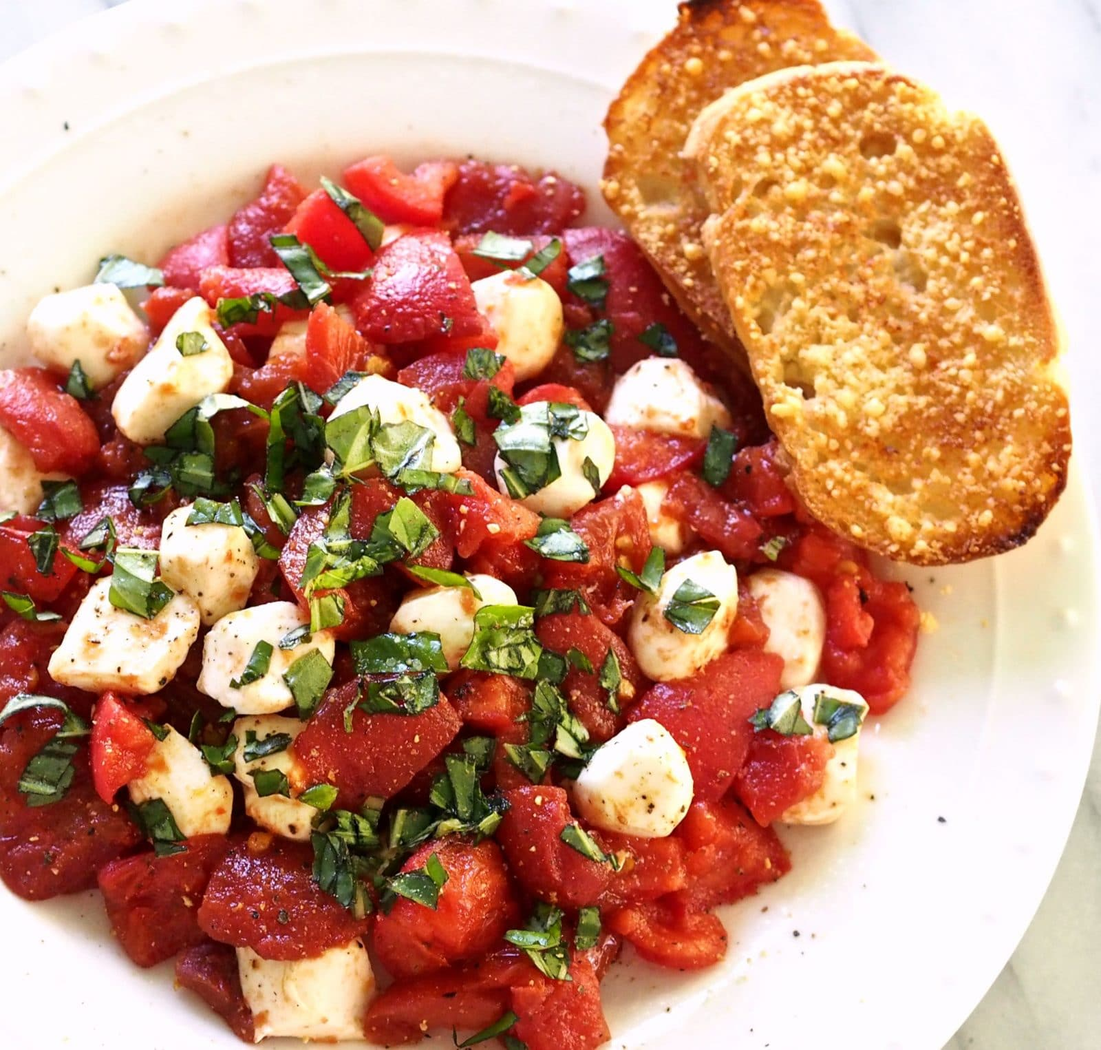 Tomato Caprese Salad. Roma tomatoes roasted w/olive oil, balsamic ...