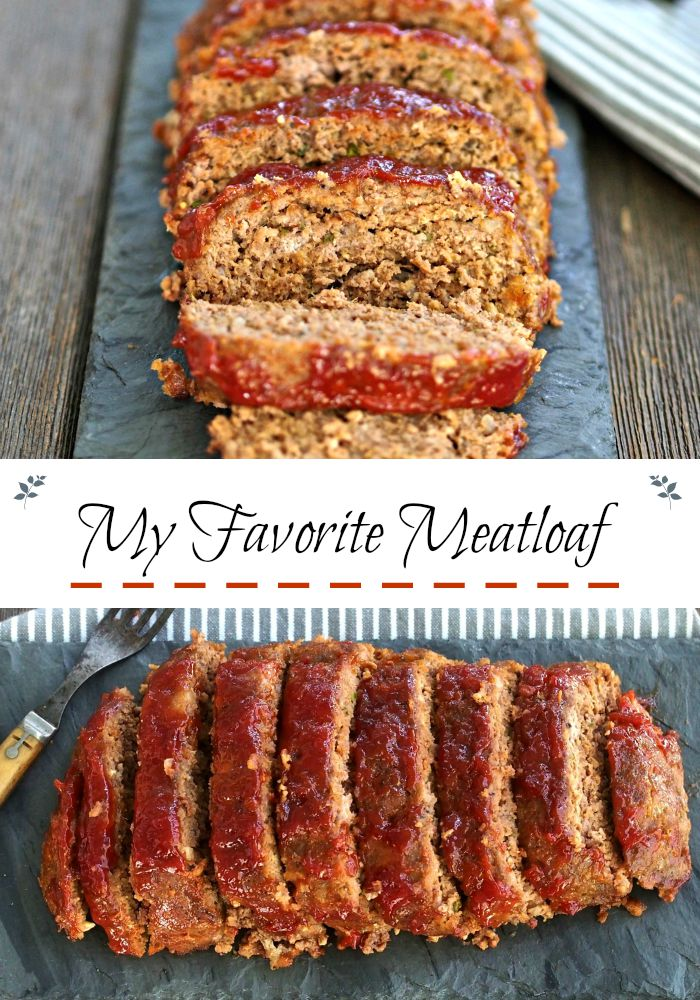My Favorite Meatloaf-simple and flavorful. Serve as an entree or slice ...