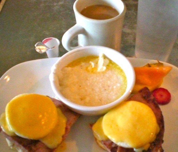 Southern grits, with eggs benedict, using southern biscuits instead of english muffins