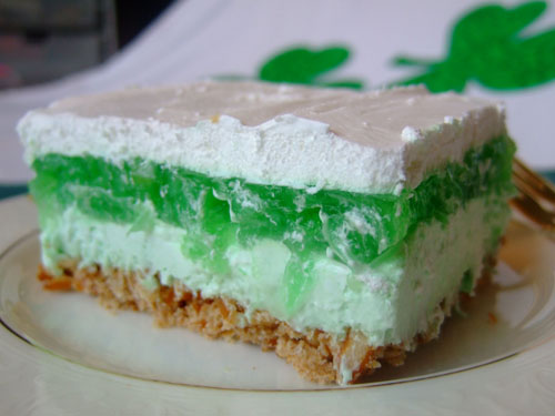 St Patricks Layered Jello Dessert