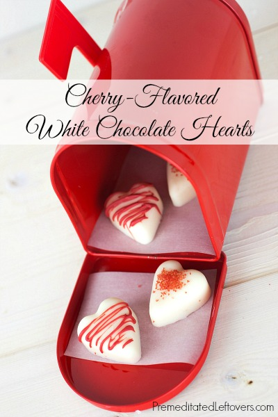 Cherry Flavored White Chocolate Hearts