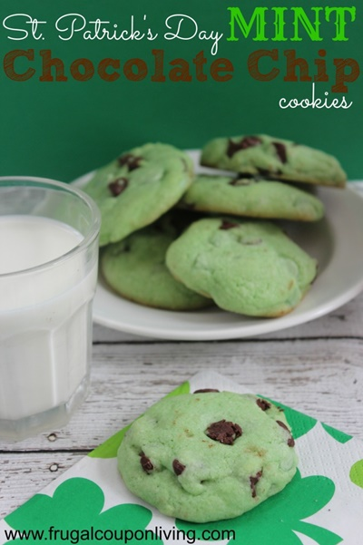 St. Patricks Day Mint Chocolate Chip Cookies