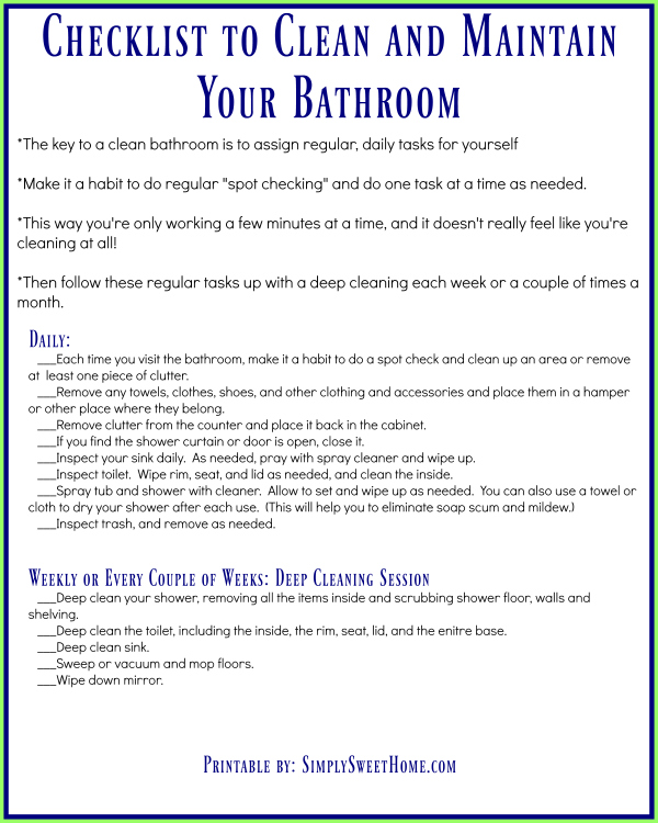 Tips And A Printable Checklist For A Clean Bathroom Simply Sweet Home