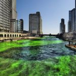 Chicago River is turned green for the occasion.