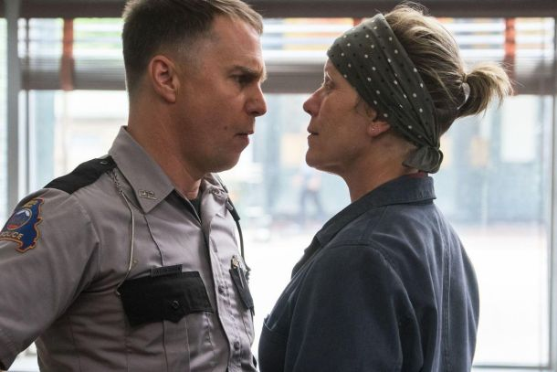 Best Supporting Actor nominee Sam Rockwell alongside Best Actress nominee Frances McDormand in Three Billboards Outside Ebbing Missouri