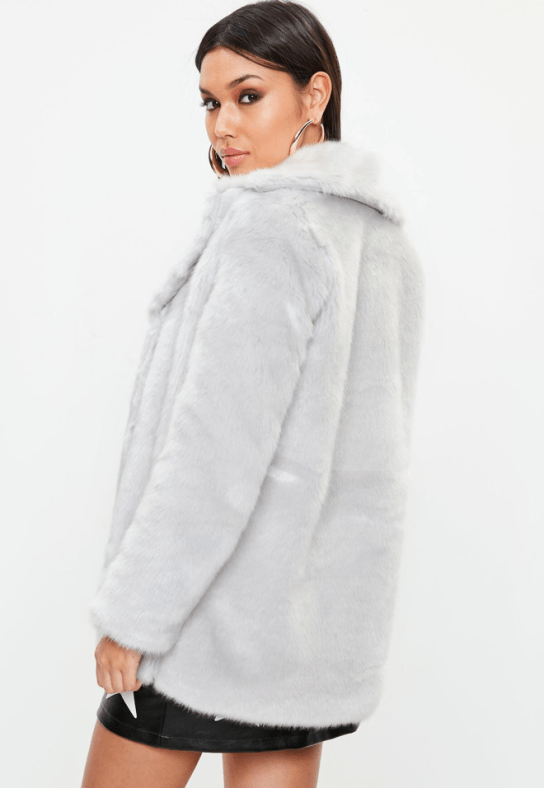Grey collared faux fur coat, Missguided, €88