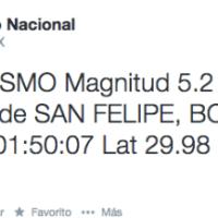Sismo de 5.2 grados sacude San Felipe, Baja California