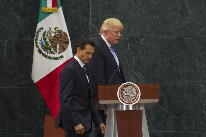 El pasado 31 de agosto el Presidente Enrique Peña Nieto recibió al candidato republicano Donald Trump en Los Pinos y Palacio Nacional. Foto: Cuartoscuro