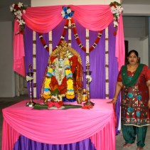 Bhagirathy is getting ready for a traditional hindu god procession ritual.