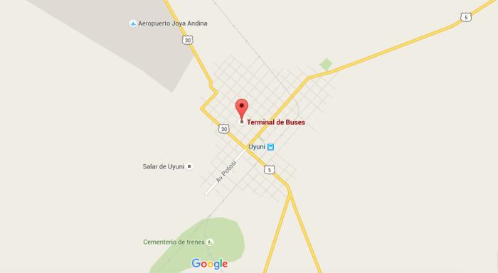 Mapa de la pequeña localidad de Uyuni