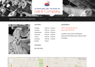 Website Design for Alterations and Tailoring by Lee and Company of Sioux Falls, South Dakota