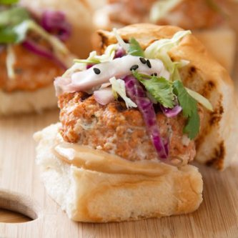 Asian Spiced Salmon Sliders with Soy Mayo & Spicy Slaw