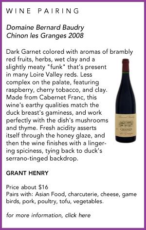 Domaine Bernard Baudry Wine Pairing