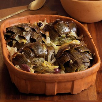 Baked Artichokes with Onions, Lemon, Kalamata Olives & Rosemary ...