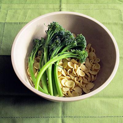 broccolini and dried orecchiette