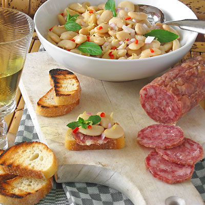 Butter Bean Crostini with Salami