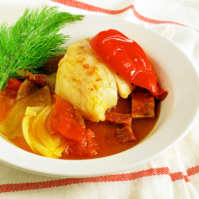Cod Stew with Pimenton & Chorizo from sippity sup
