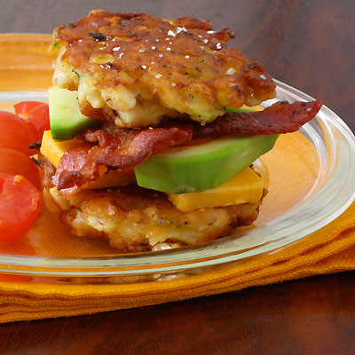 Sweet on Corn- Corn & Zucchini Fritter Stacks with Bacon and Avocado ...