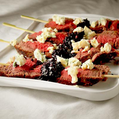 Beef Tenderloin Skewers with Cranberry Peppercorn Relish