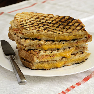 Grilled Cheddar Cheese Panini with Pancetta and Hot Mustard