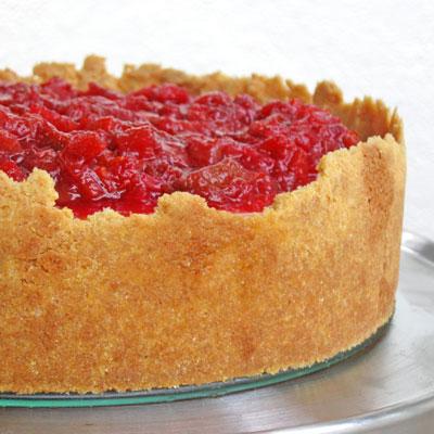 ricotta mascarpone cheesecake with rhubarb