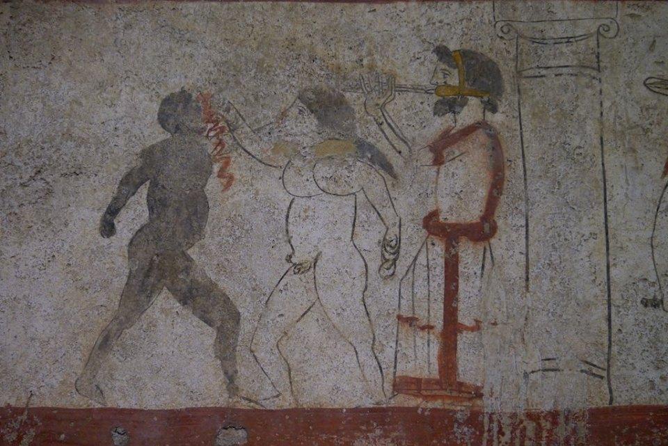 Gladiatoren beim blutigen Faustkampf. Ausmalung eines samnitischen Grabes in Paestum