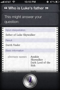 Who is Luke's Father? Siri Knows