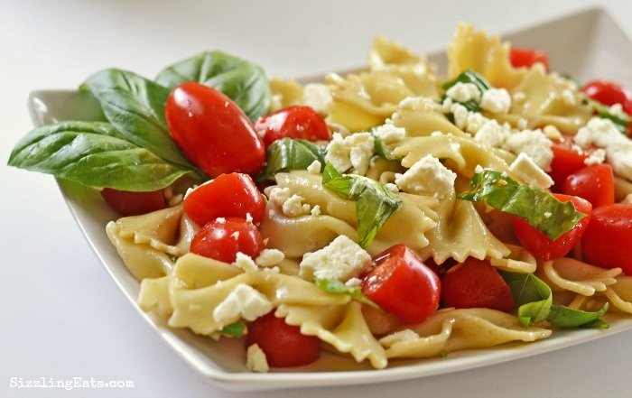 Feta, Basil, Tomato and Bowtie Pasta Salad Recipe