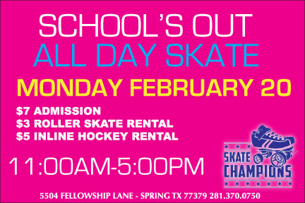 School's Out All Day Skate Mon Feb 20