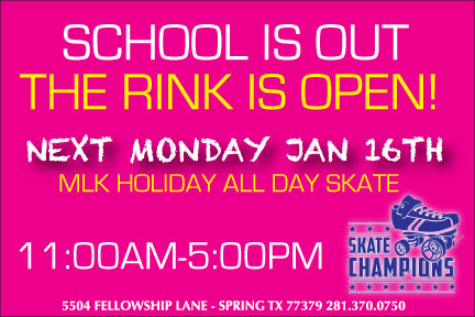 MLK Holiday All Day Skate Mon Jan 16