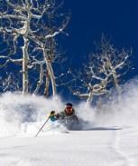 Skiing on Aspen Mountain powder day