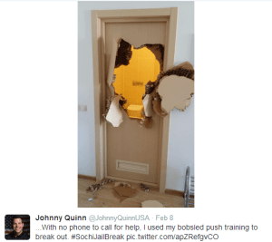 U.S. Bobsledder Johnny Quinn punches his way out of a faulty bathroom door in Sochi.