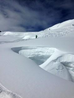 Vallee Blanche crevasse snow bridge