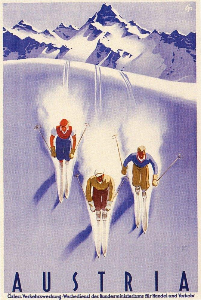 Austria Ski Poster, Austria Vintage Ski Poster