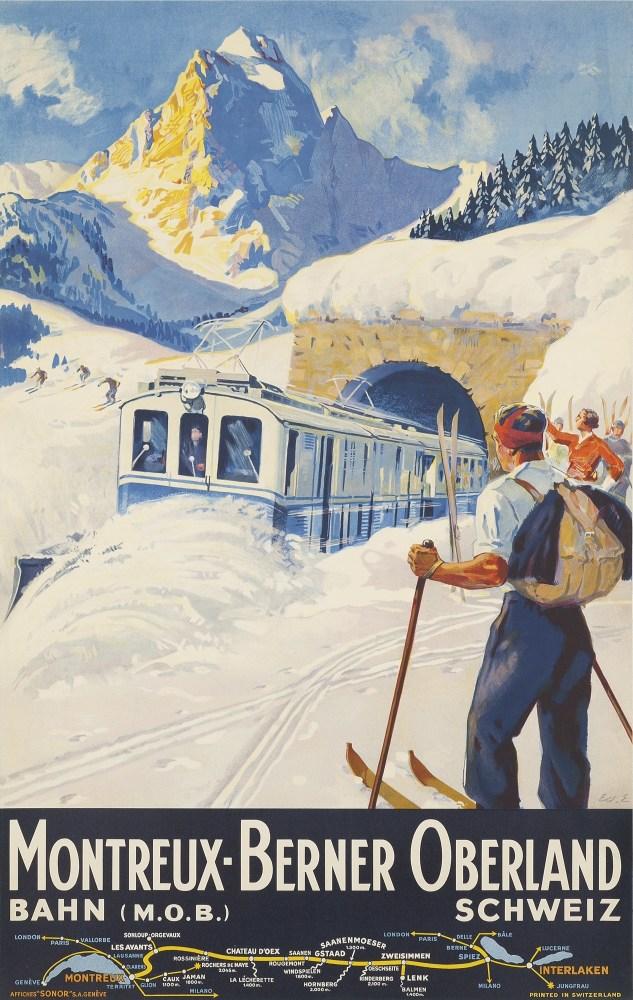 Bernese Oberland Vintage Ski Poster