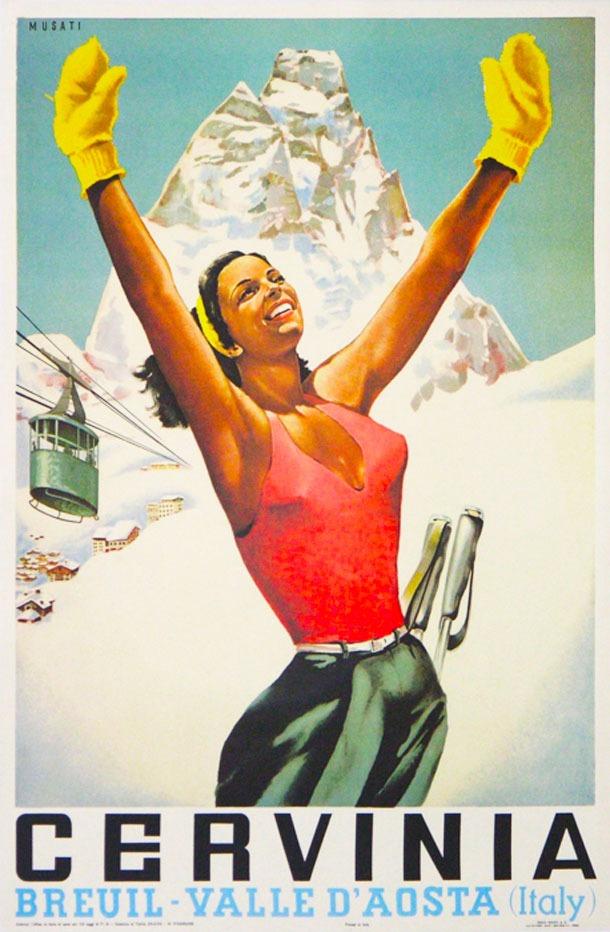 Cervinia Vintage Ski Poster, Cervinia Ski Poster