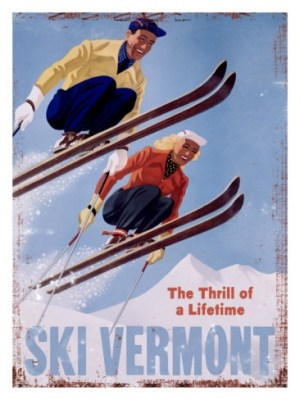 Ski Vermont Vintage Ski Poster, Ski Vermont The Thrill of a Lifetime